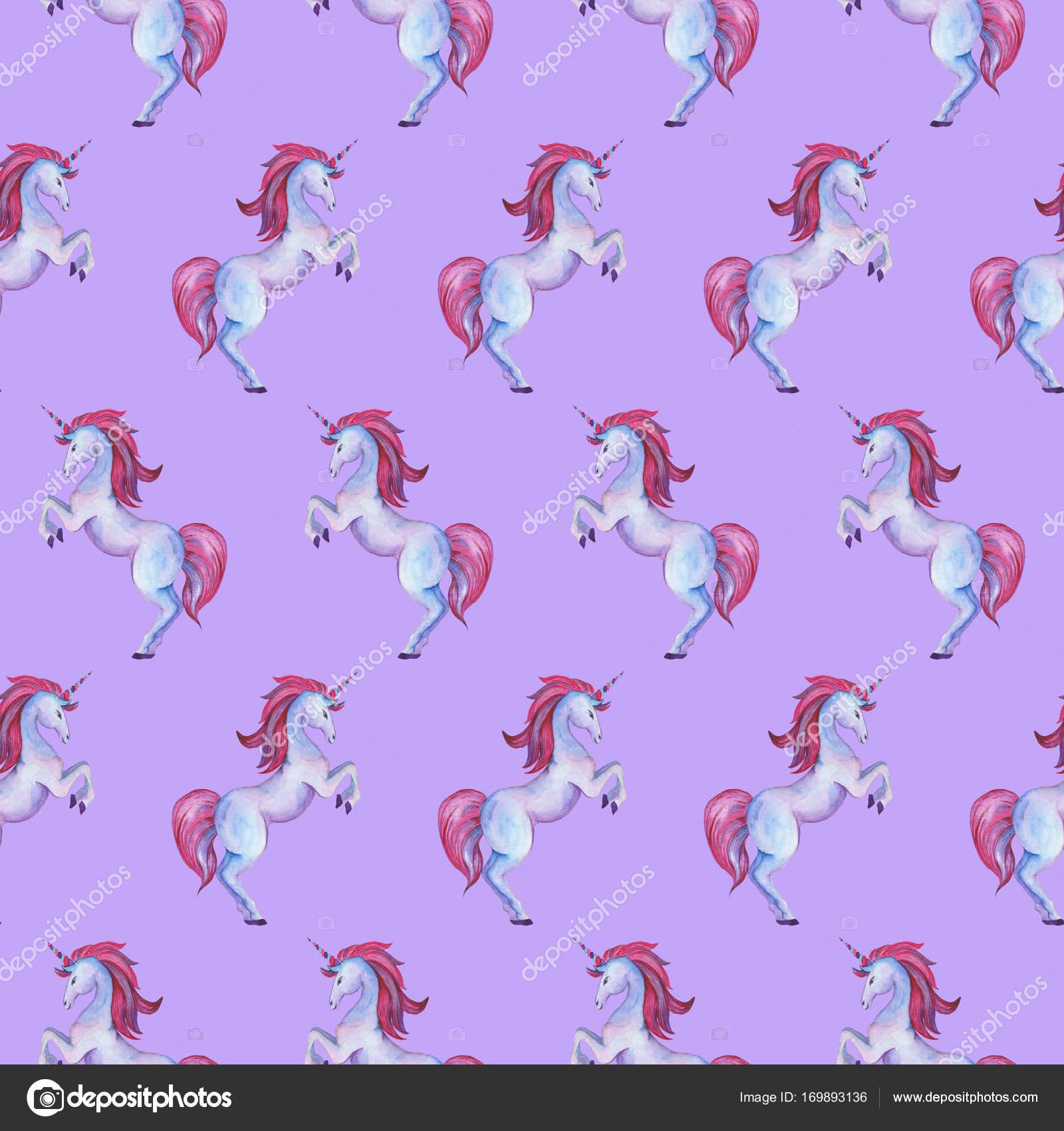 Colección unicornio. Acuarela de patrones sin fisuras — Fotos de ...