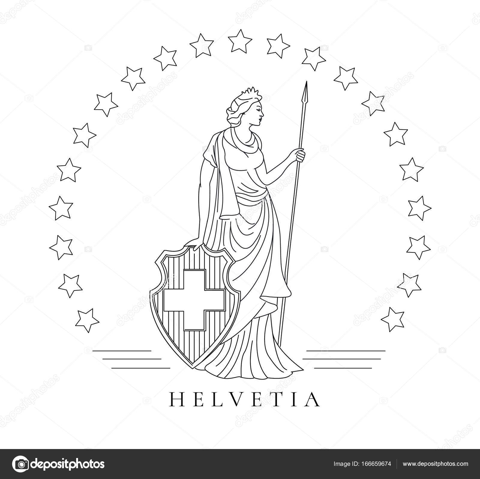 Personified symbol of Switzerland called Helvetia, graphic
