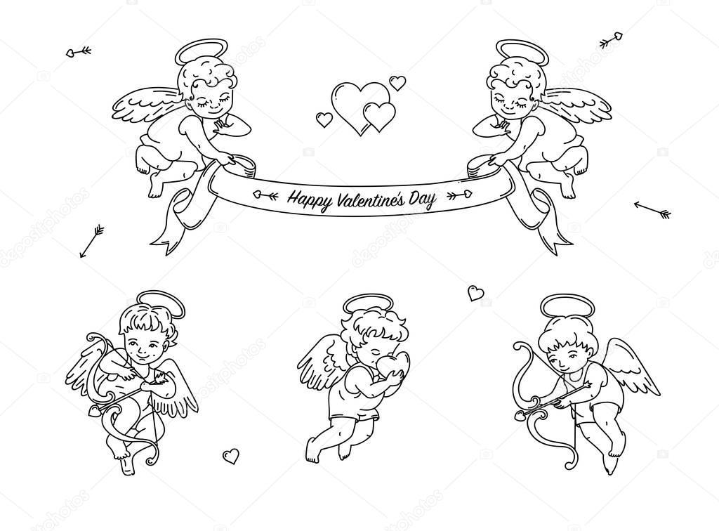 Dibujos: caritas de angeles para colorear | Conjunto de Ángeles de ...