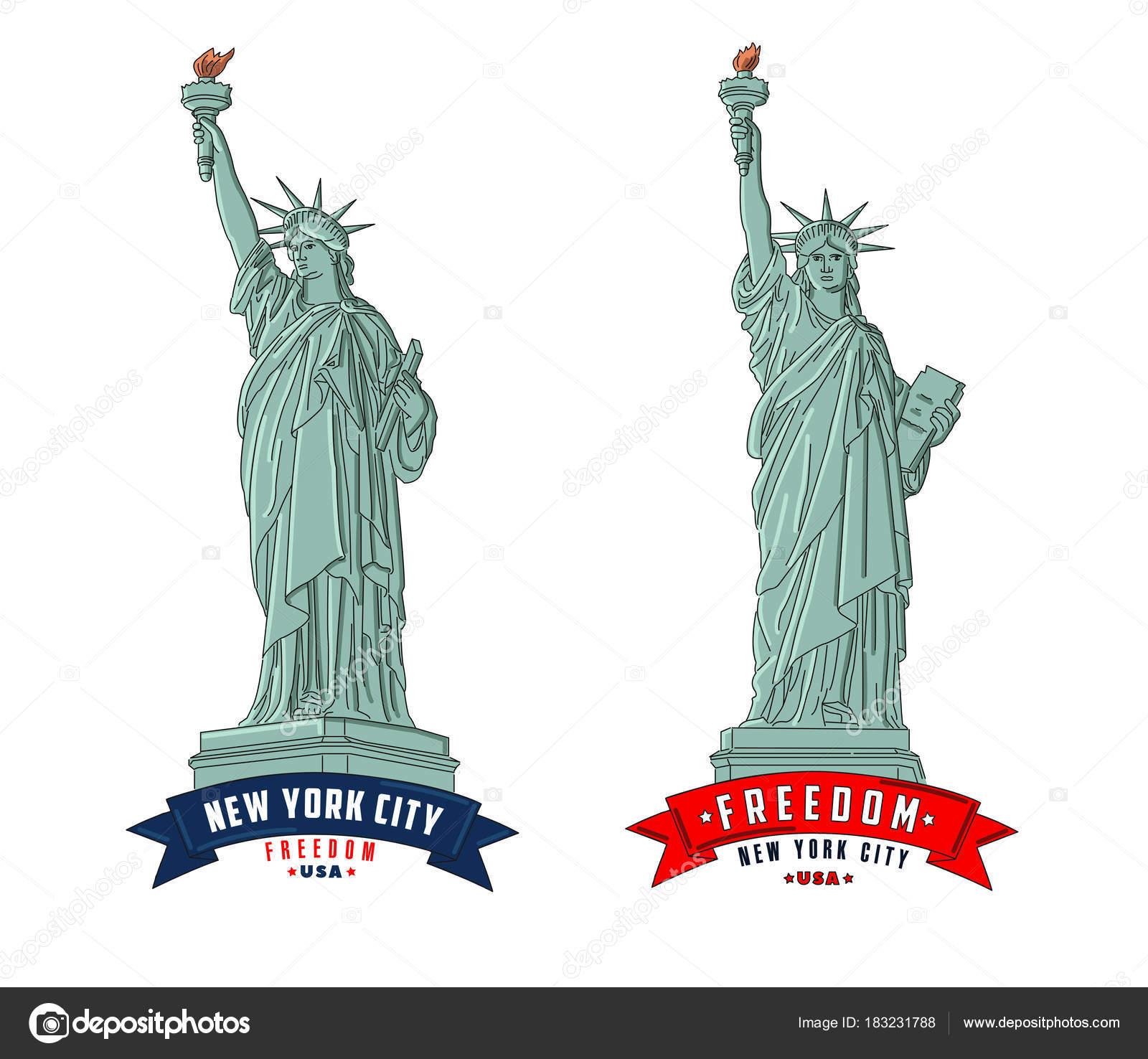ニューヨークの自由の女神像の概要イラスト ストックベクター