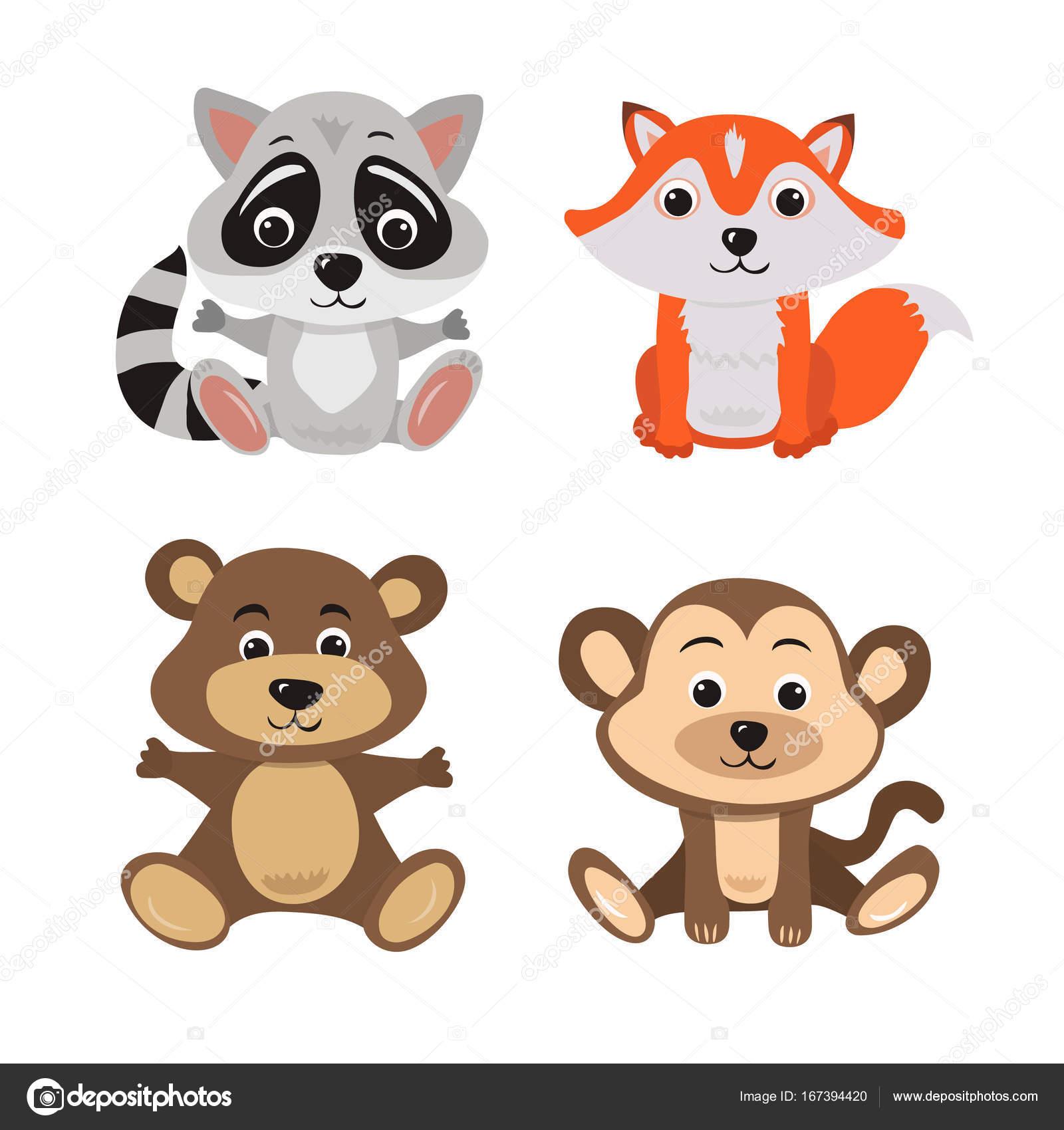 7 赤ちゃん動物アライグマ、キツネ、クマとサルの漫画イラスト