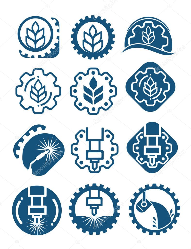 Agriculture logo set with cereal grains and industrial gears. Industrial and agricultural icon isolated with gears, wheat and welding.