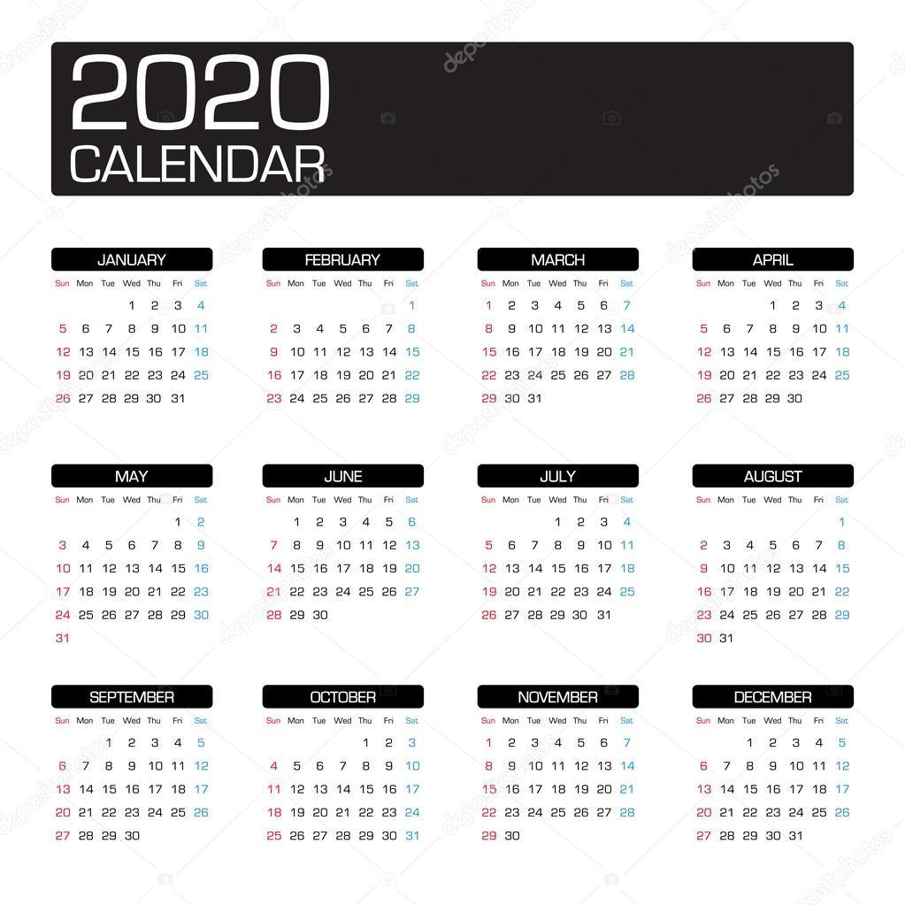 plantilla de calendario del año 2020 — Vector de stock © siiixth ...