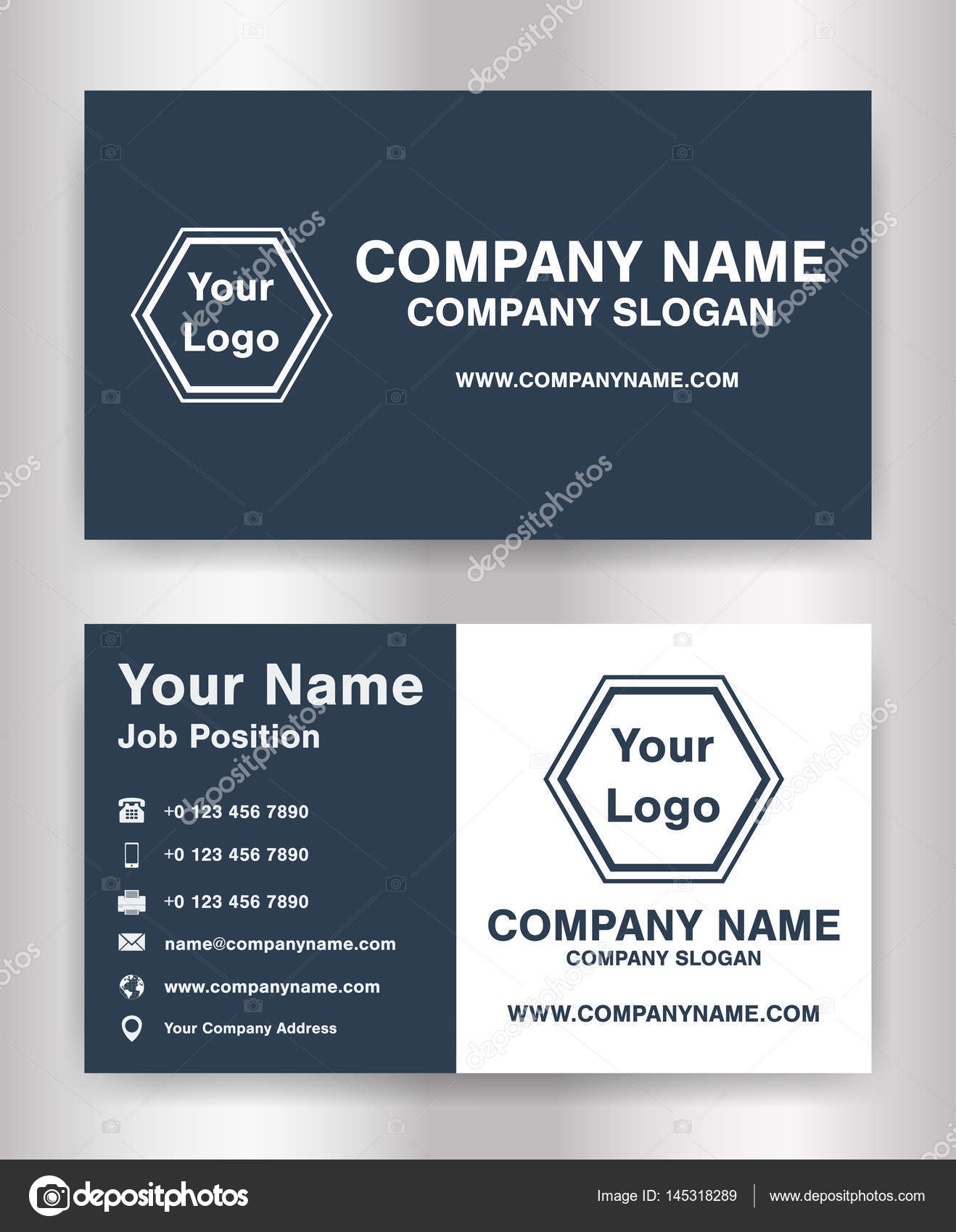 simple dark blue theme business name card template vector — Stock