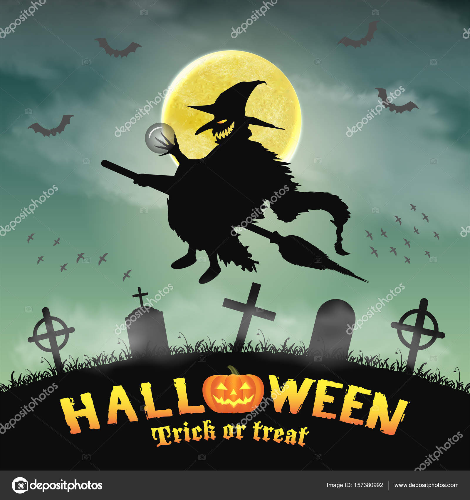 halloween silhouette flying witch in night graveyard stock vector