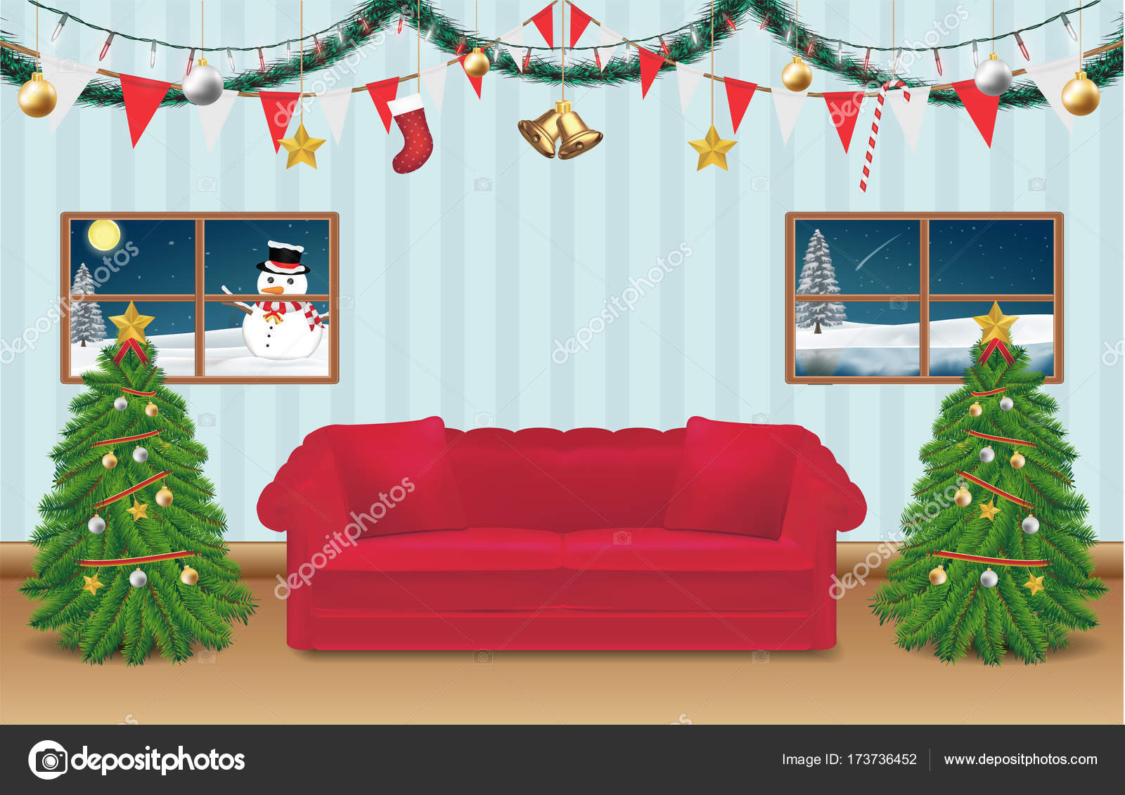Night Christmas Party Room Decorated Background Stock Vector