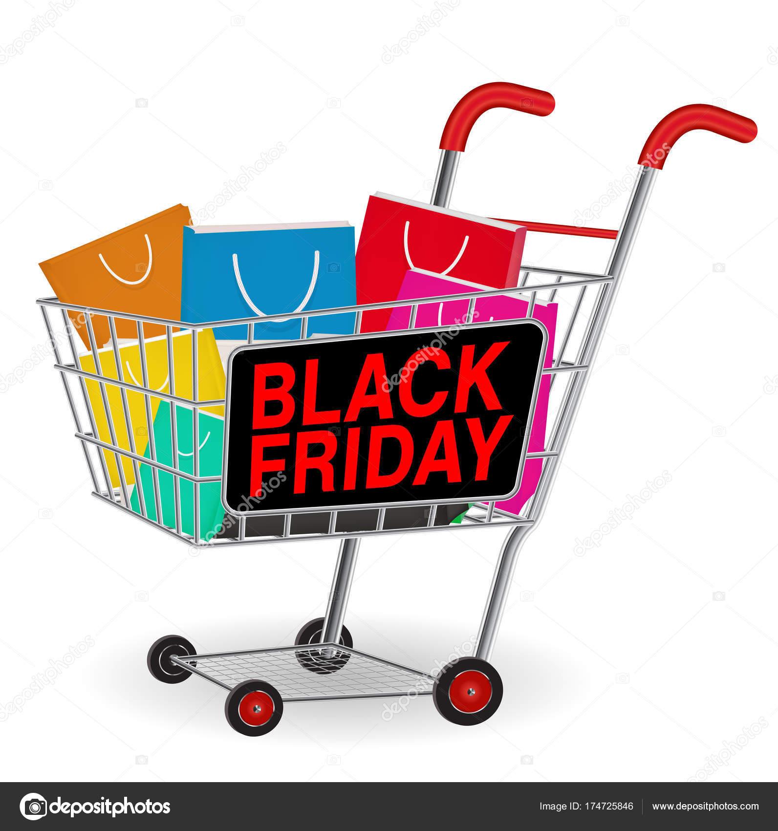 1471440e1 Bolsa de papel en carrito de compras del viernes negro– Ilustración de Stock
