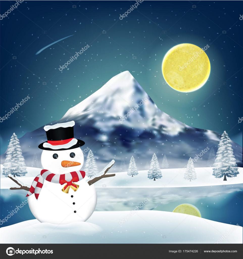 Muñeco Nieve Frente Lago Invierno Con Gran Montaña — Vector de stock ...
