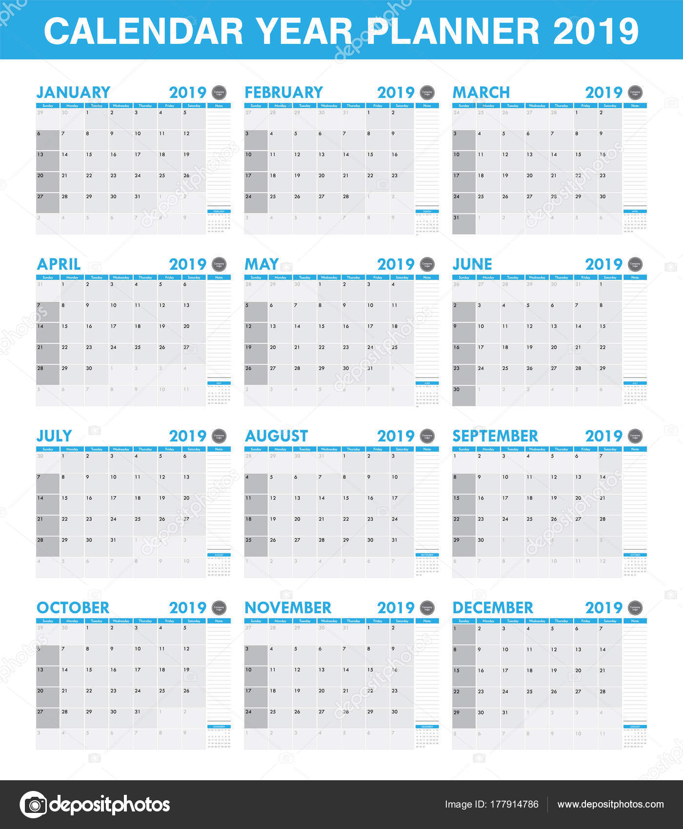 Conjunto Calendario Planificador Año 2019 Simple Todo Mes — Vector ...
