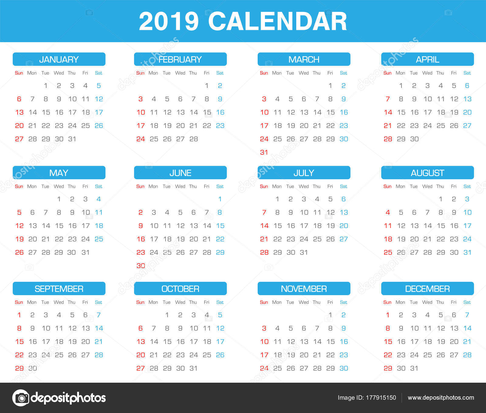 2019 es naptár nyomtatható Egyszerű 2019 Évi Naptár Készlet Minden Hónap — Stock Vektor  2019 es naptár nyomtatható