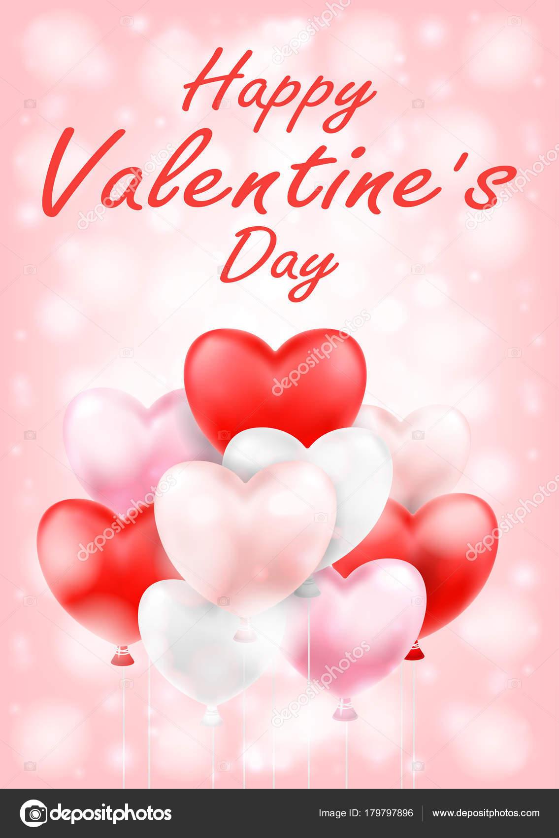 Happy Valentinstag Mit Rosa Rot Weiße Ballons — Stockvektor ...