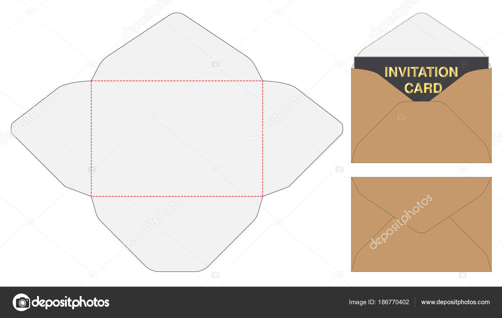 envelope die cut mock template vector illustration stock vector