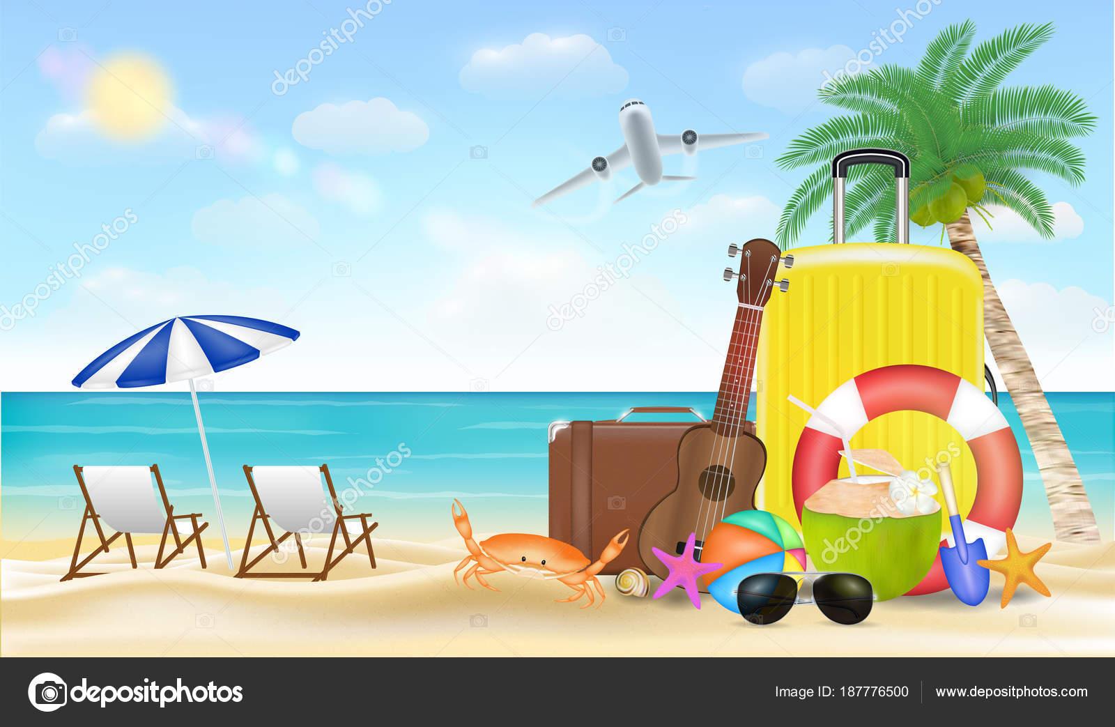 Vacaciones Verano Con Bolsa Viaje Playa Arena Mar Archivo Imágenes