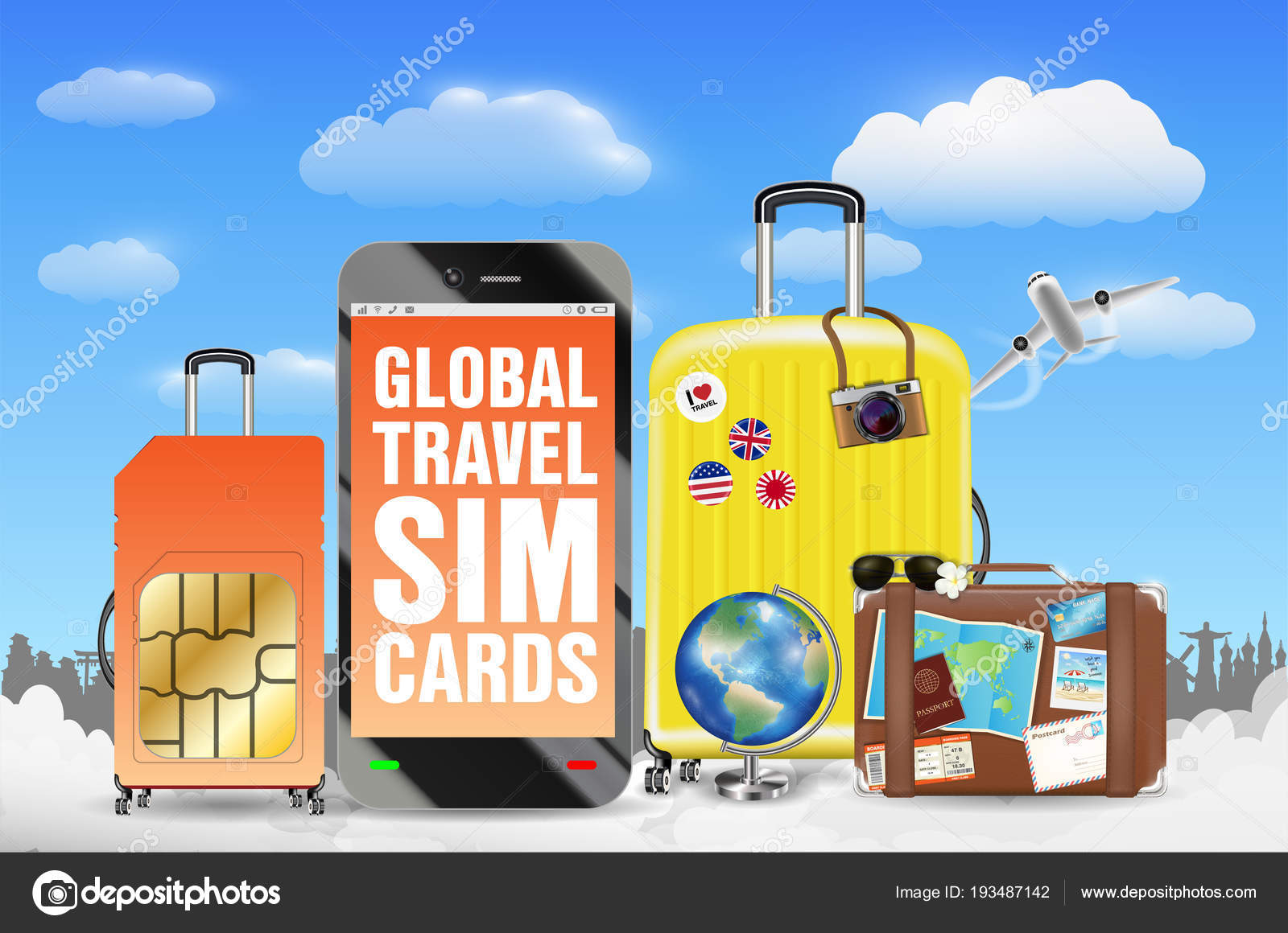smartphone global travel sim card luggage bag stock vector - Global Travel Card