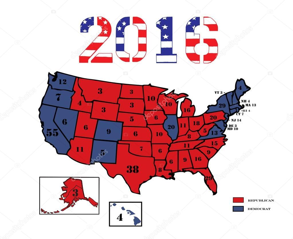 Presidential Electoral Maps 2016 — Stock Vector ...