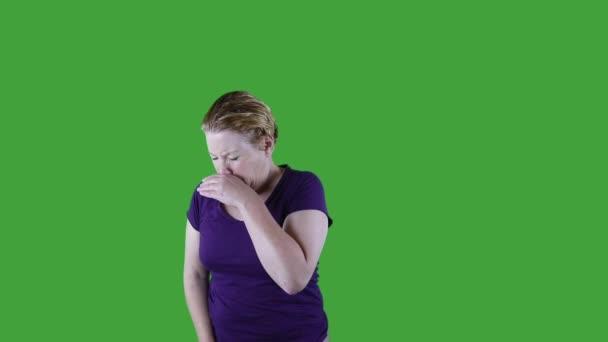 Žena užívat léky proti alergii, zelená obrazovka