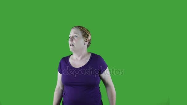 Žena kýchání do tkáně, jaro, zelená obrazovka