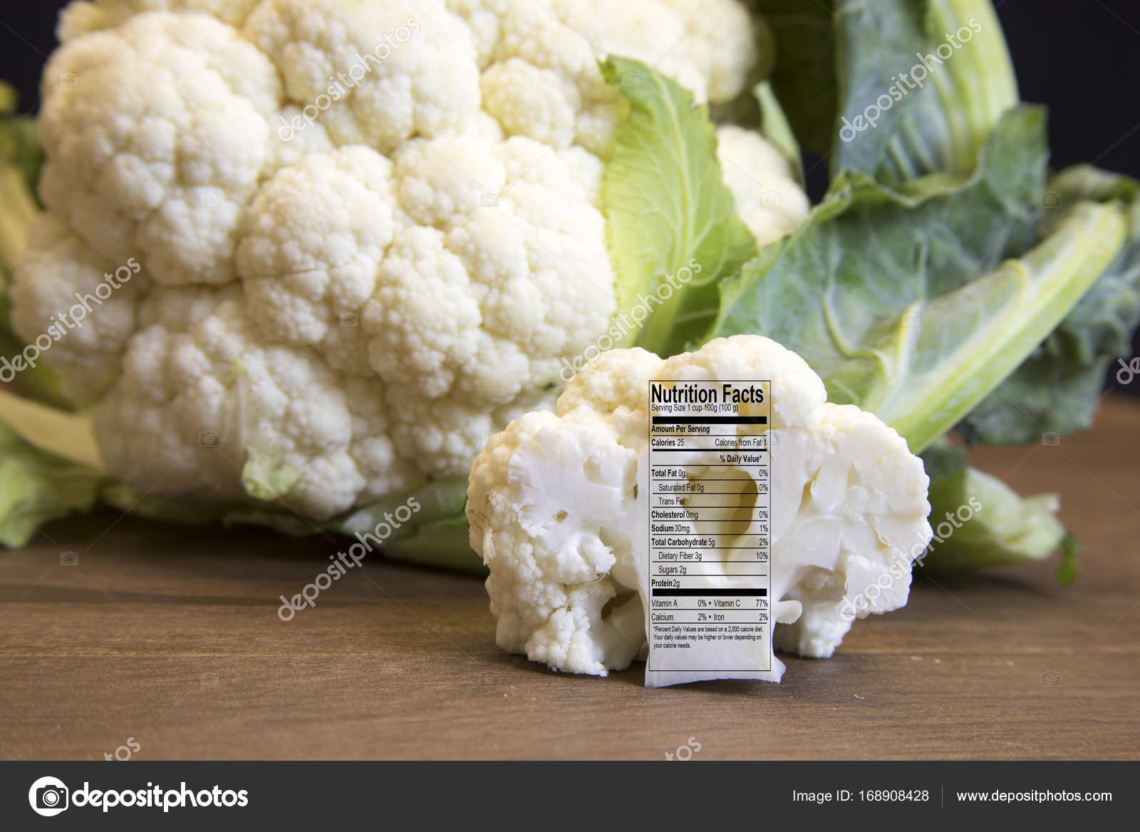 Tete De Chou Fleur Cru Et Fleuron Avec Etiquette Nutritionnelle Fait