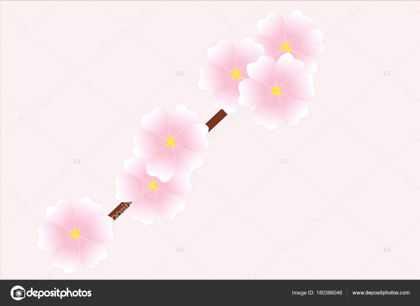 桃の木の花イラスト ストックベクター Karenfoleyphotography 180386046
