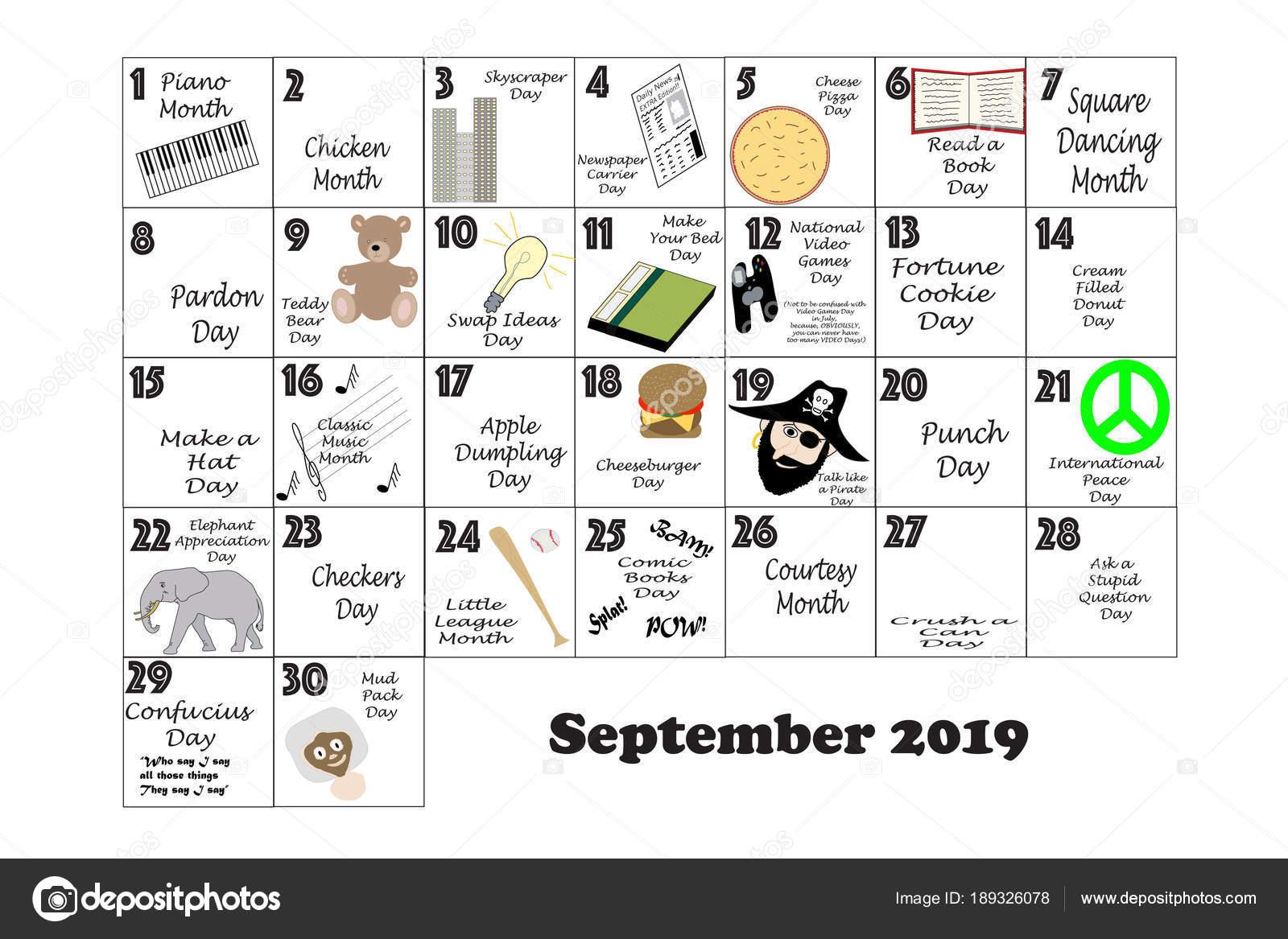 2019年 9 月風変わりな祝日と異常なイベント ストック写真