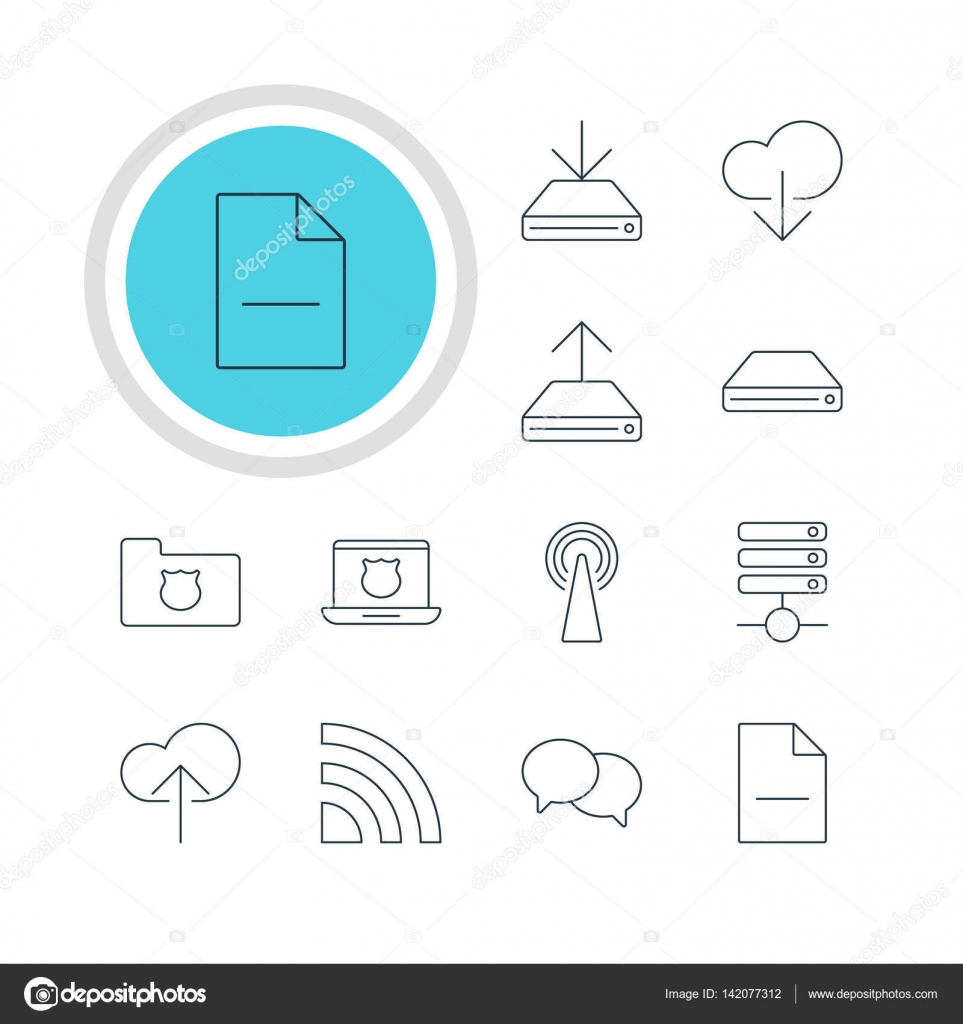 Vector Illustration Of 12 Network Icons Editable Pack Of Data