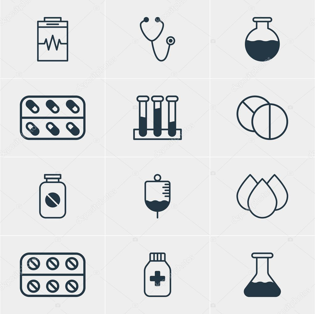 Vector Illustration Of 12 Medical Icons. Editable Pack Of Medicine, Flask, Medicine Jar And Other Elements.