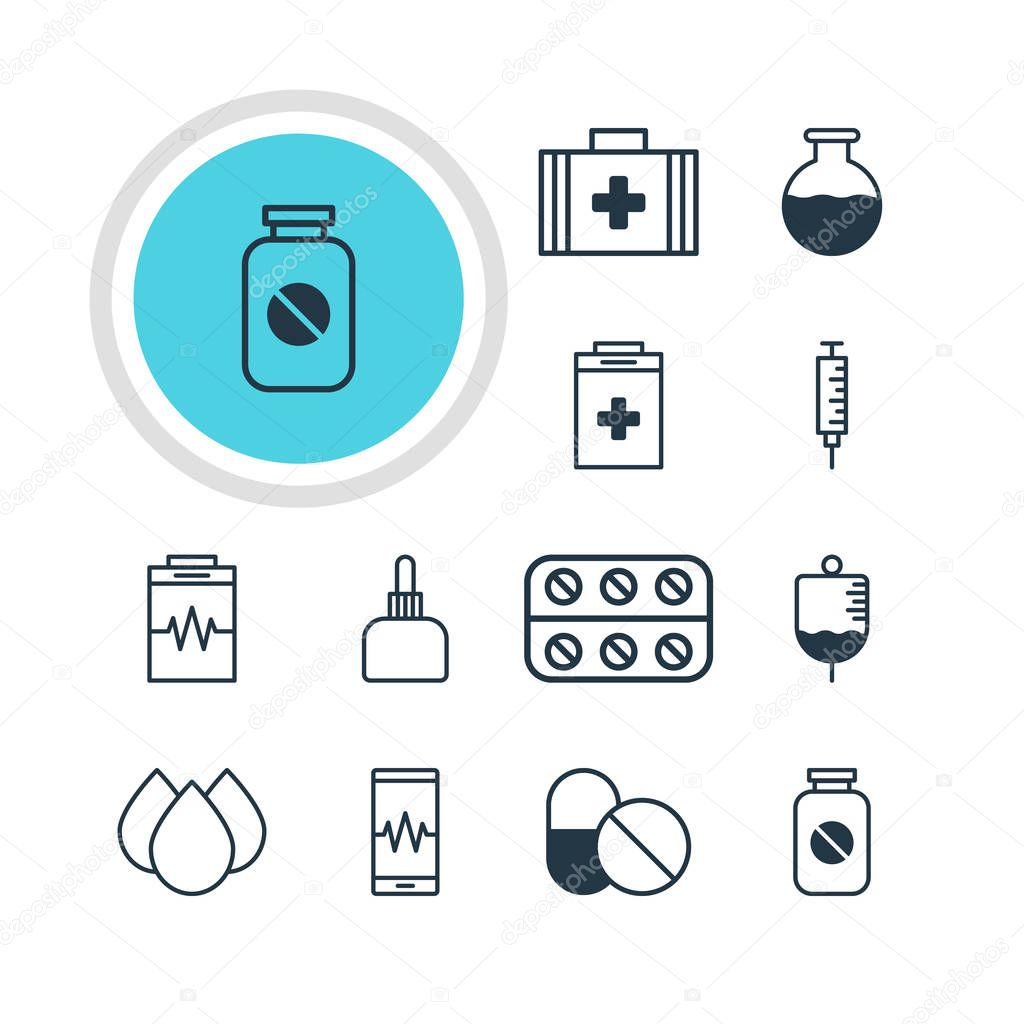 Vector Illustration Of 12 Medicine Icons. Editable Pack Of Antibiotic, Medical Bag, Pills And Other Elements.