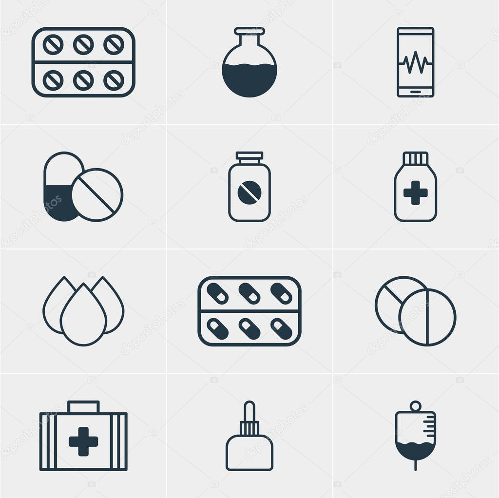 Vector Illustration Of 12 Medicine Icons. Editable Pack Of Medicine, Trickle, Vial And Other Elements.