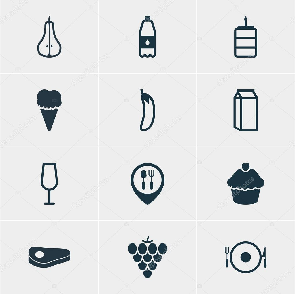 Vector Illustration Of 12 Eating Icons. Editable Pack Of Aubergine, Muffin, Serving And Other Elements.