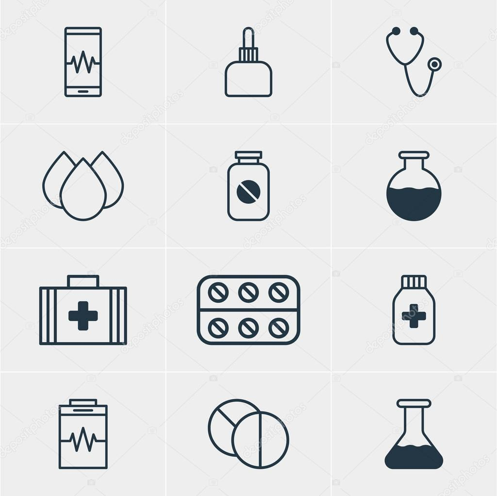 Vector Illustration Of 12 Medical Icons. Editable Pack Of Phone Monitor, Flask, Treatment And Other Elements.