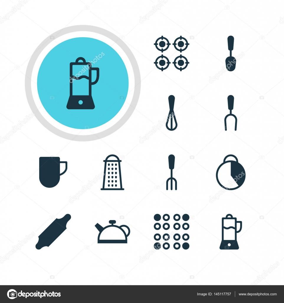 Vektor-Illustration von 12 Geschirr Icons. Editierbare Pack von ...