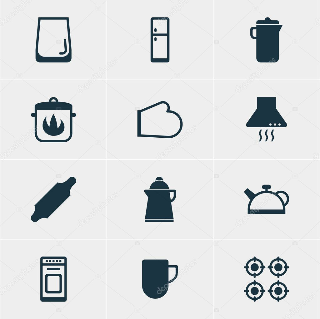 Vector Illustration Of 12 Cooking Icons. Editable Pack Of Teakettle, Stewpot, Glass Cup And Other Elements.