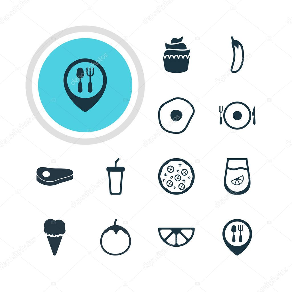 Vector Illustration Of 12 Eating Icons. Editable Pack Of Juice, Restaurant, Dessert And Other Elements.