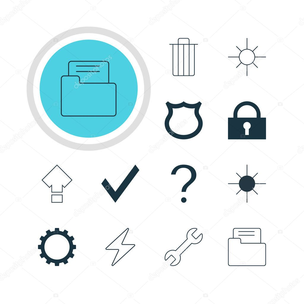 Vector Illustration Of 12 User Icons. Editable Pack Of Cogwheel, Garbage, Help And Other Elements.