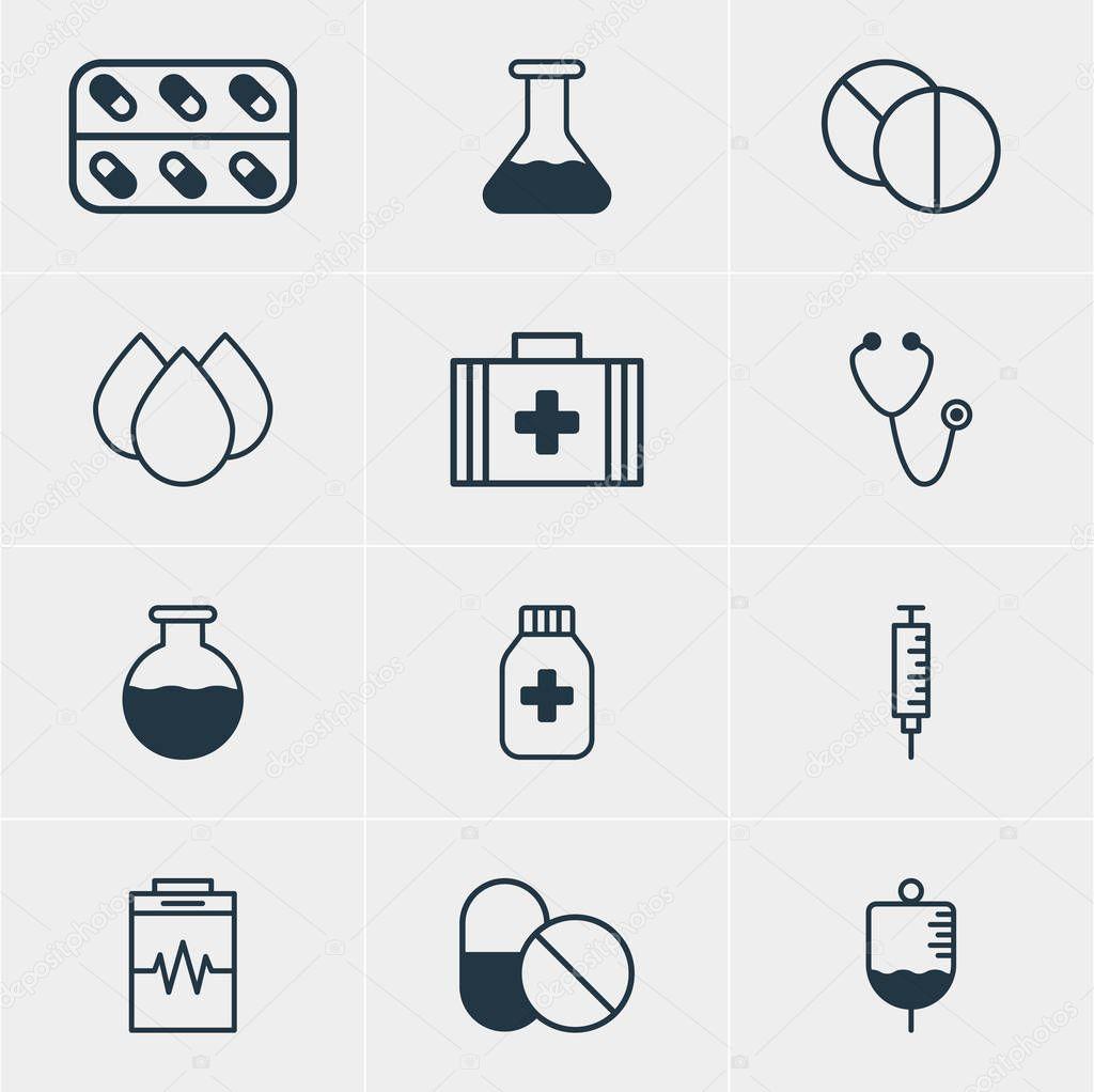 Vector Illustration Of 12 Medical Icons. Editable Pack Of Medicine, Trickle, Medicine Jar And Other Elements.