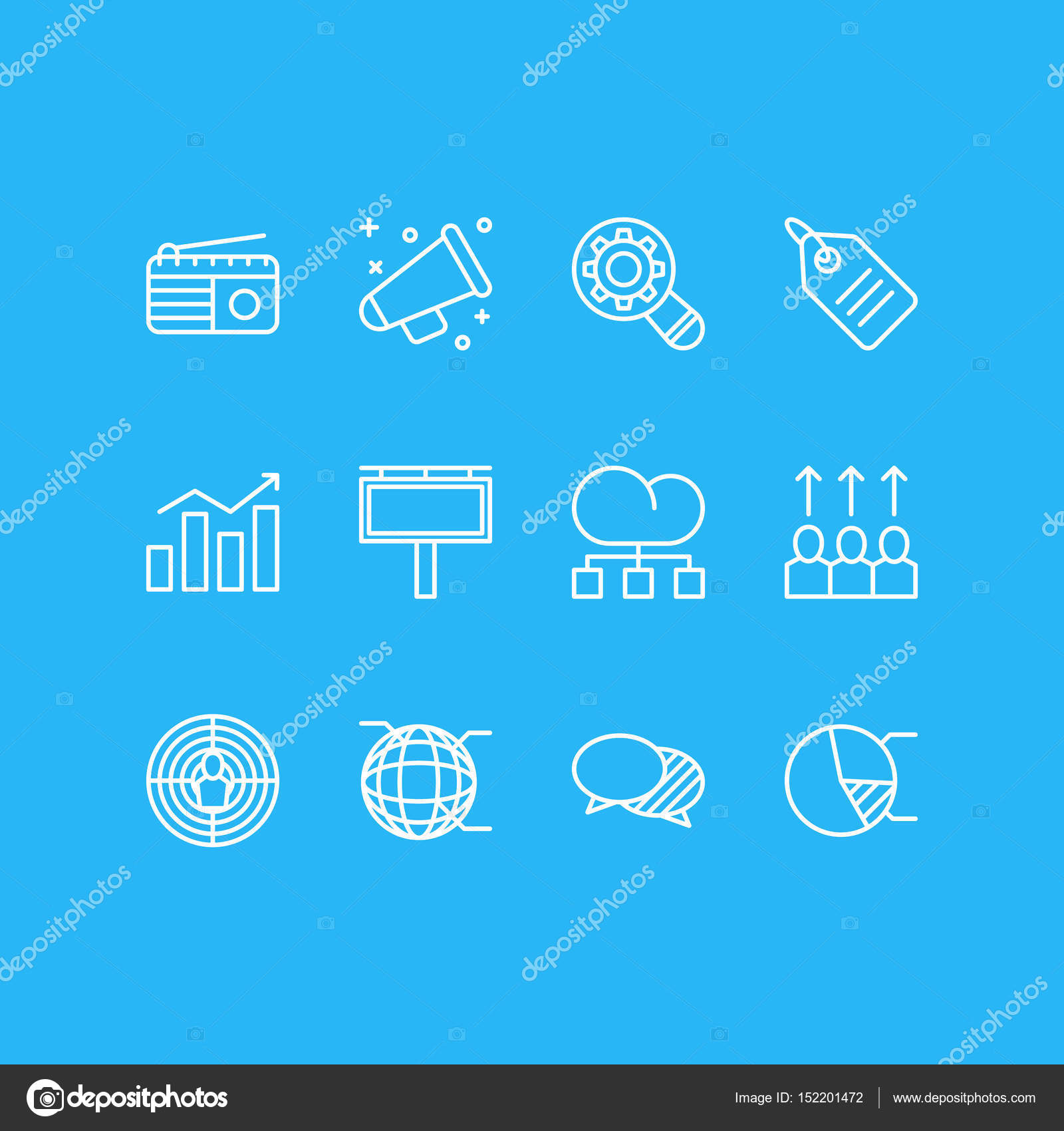 Vector illustration of 12 advertising icons editable pack of circle vector illustration of 12 advertising icons editable pack of circle diagram network announcement ccuart Image collections