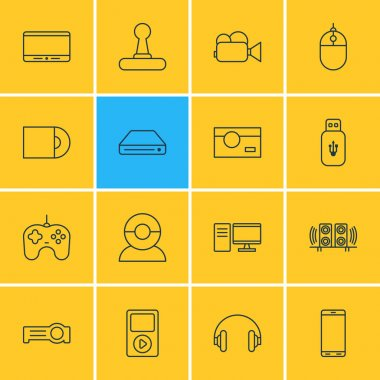 Vector Illustration Of 16 Gadget Icons. Editable Pack Of Loudspeaker, Headset, Floodlight And Other Elements.