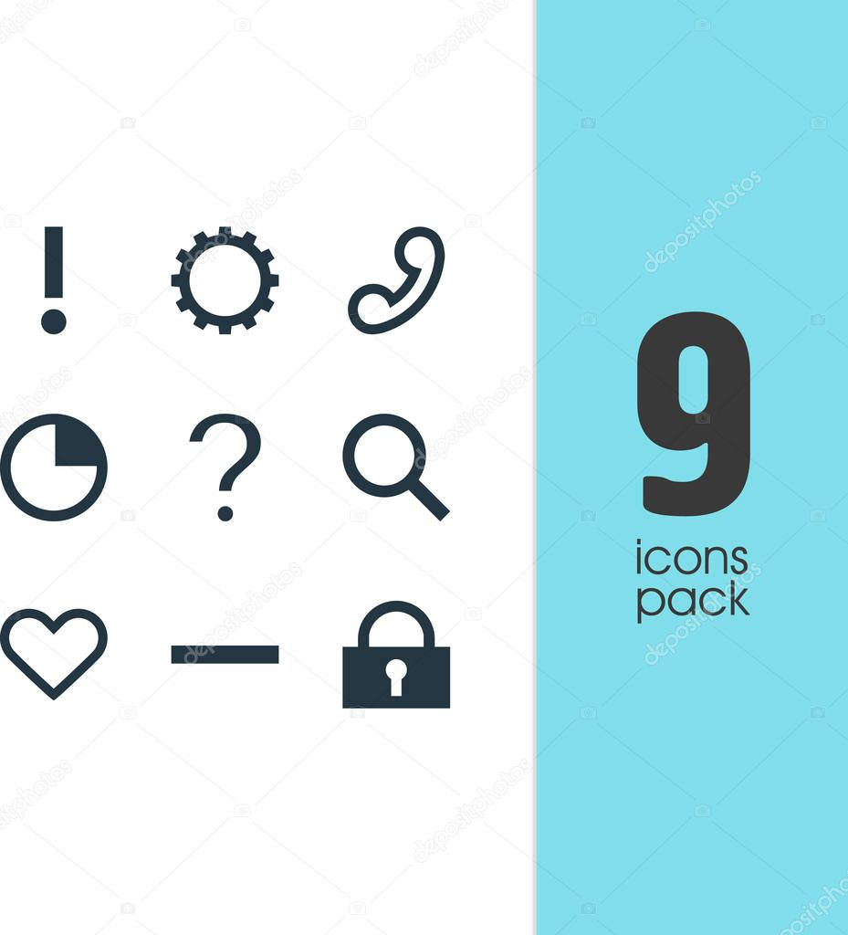 Vector Illustration Of 9 Interface Icons. Editable Pack Of Padlock, Alert, Help And Other Elements.