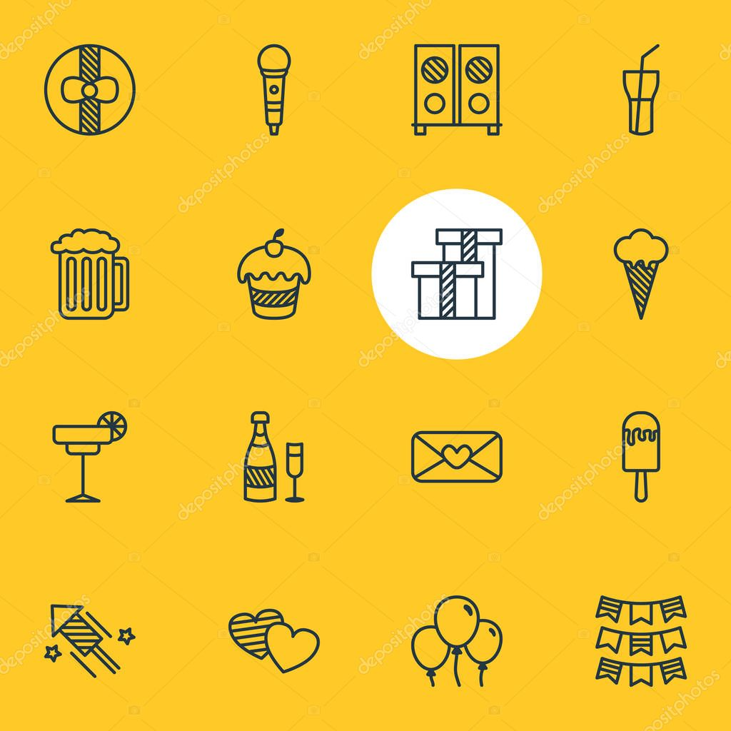 Vector Illustration Of 16 Party Icons. Editable Pack Of Firecracker, Soft Drink, Draught And Other Elements.