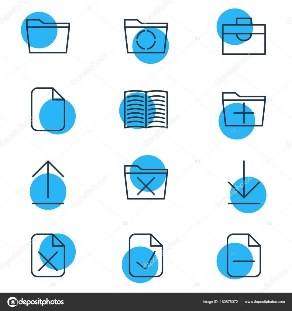 Vektor-Illustration von 12 Office-Symbole. Editierbare Pack Lehrbuch ...
