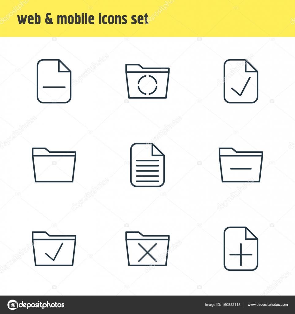 Vektor-Illustration von 9 Arbeitsplatz Ikonen. Editierbare Pack ...