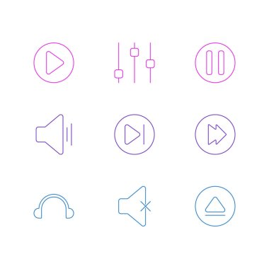 Vector Illustration Of 9 Music Icons. Editable Pack Of Audio, Advanced, Earphone And Other Elements.