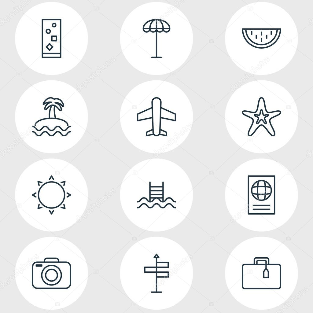 Vector Illustration Of 12 Season Icons. Editable Pack Of Suitcase, Cocktail, Melon And Other Elements.