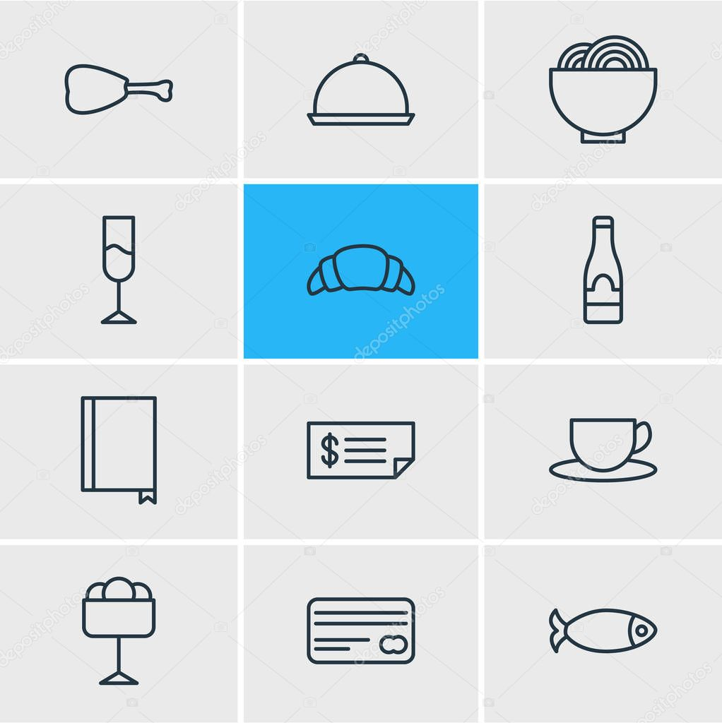 Vector Illustration Of 12 Eating Icons. Editable Pack Of Card, Seafood, Dessert And Other Elements.
