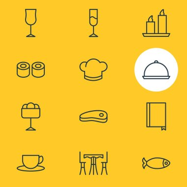 Vector Illustration Of 12 Restaurant Icons. Editable Pack Of Wineglass, Hat, Fire Wax And Other Elements.