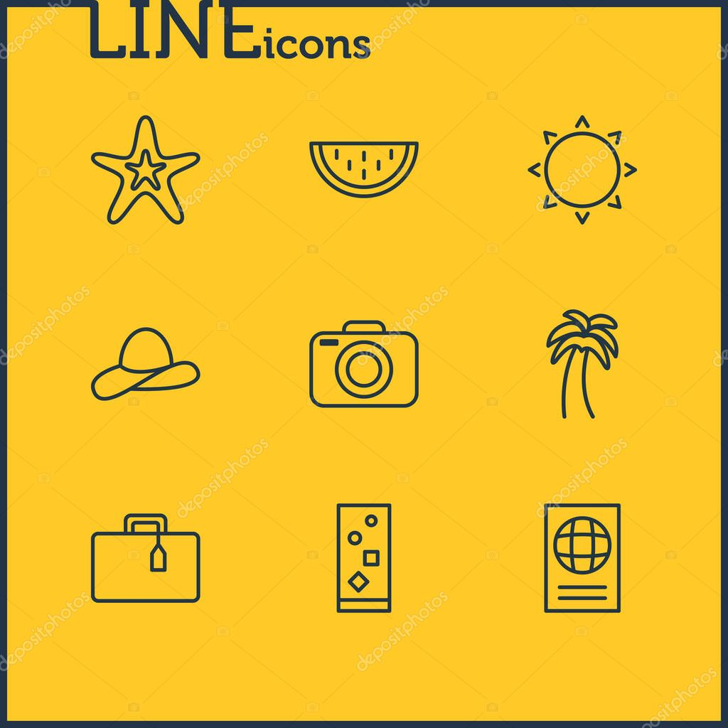 Vector Illustration Of 9 Summer Icons. Editable Pack Of Fish, Suitcase, Photo Apparatus And Other Elements.