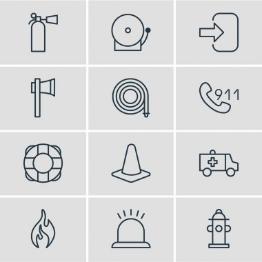 Vector Illustration Of 12 Extra Icons. Editable Pack Of Safety, Siren, Alarm And Other Elements.