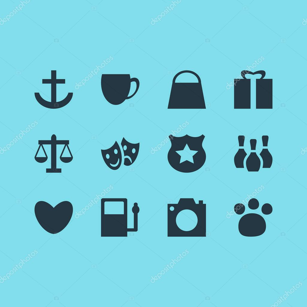 Vector Illustration Of 12 Check-In Icons. Editable Pack Of Scales, Present, Anchor And Other Elements.