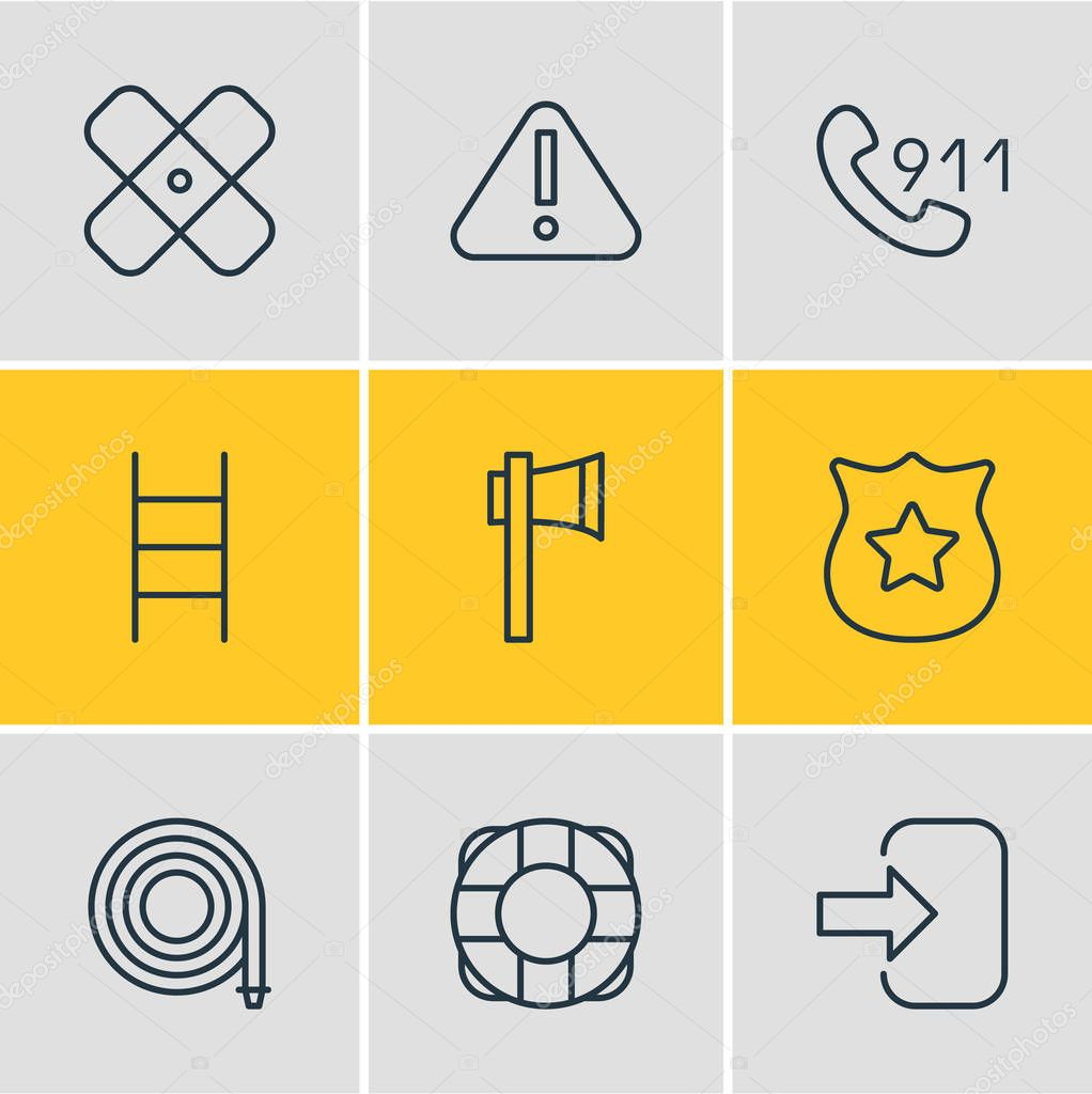 Vector Illustration Of 9 Emergency Icons. Editable Pack Of Badge, Exclamation, Hotline And Other Elements.