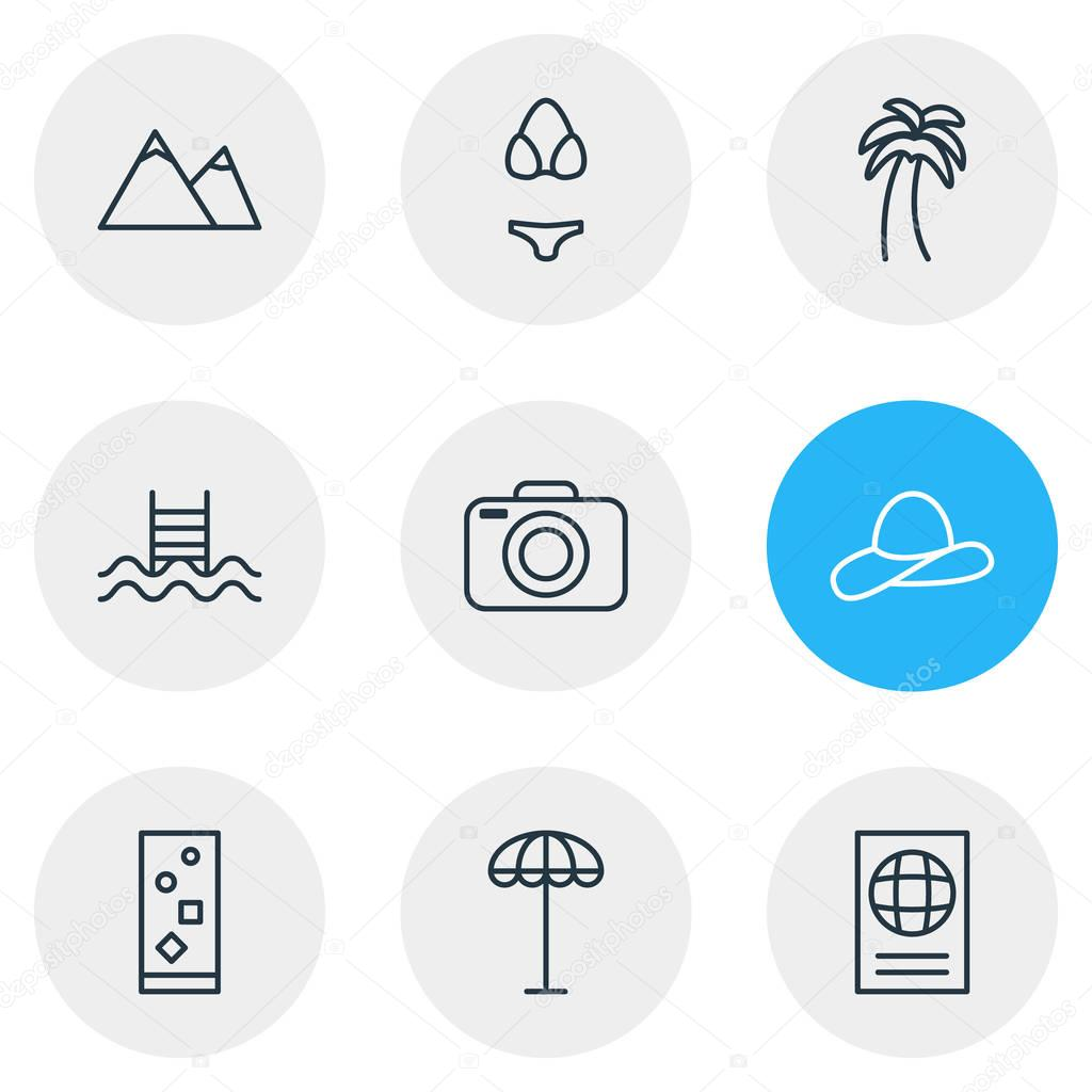 Vector Illustration Of 9 Summer Icons. Editable Pack Of Swimwear, Cocktail, Cap And Other Elements.